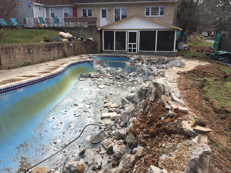 pool removal maryland in progress